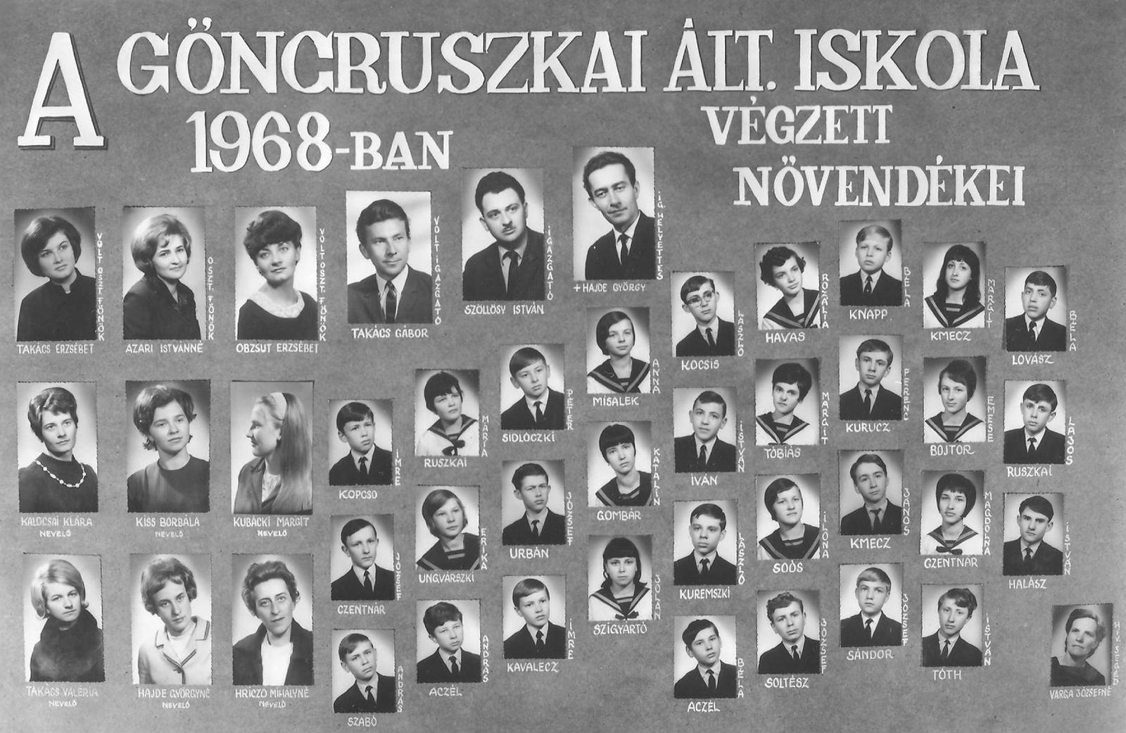 Ált. Iskola Göncruszka 1968.